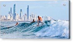 Surfing Burleigh Acrylic Print
