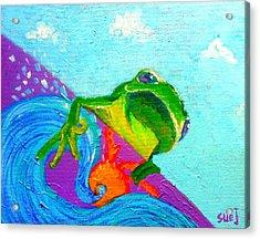 Surfing Froggie Acrylic Print