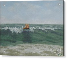 Surfing Golden Acrylic Print
