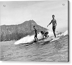 Surfing In Honolulu Acrylic Print by Underwood Archives