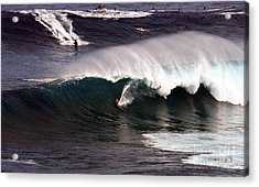 Surfing Jaws Maui  Acrylic Print by Paul Karanik