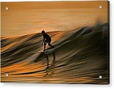 Surfing Liquid Copper C6j2144 Acrylic Print by David Orias