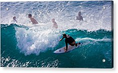 Surfing Maui Acrylic Print by Adam Romanowicz