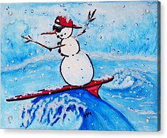Surfing Snowman Acrylic Print