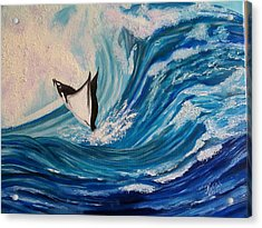 Surfing Stingray II Acrylic Print by Kathern Welsh