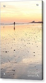 Surfing Sunset Acrylic Print by Eric  Schiabor