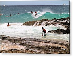 Acrylic Print featuring the photograph Surfing The Point Break by David Rich