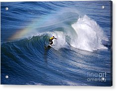 Surfing Under A Rainbow Acrylic Print by Catherine Sherman