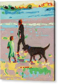 Beach Art Surf's Up - Beach Painting Bertram Poole Acrylic Print by Thomas Bertram POOLE