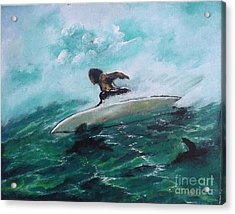 Surfs Up Acrylic Print by Donna Chaasadah