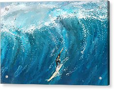 Surf's Up- Surfing Art Acrylic Print by Lourry Legarde