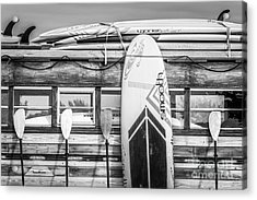 Surfs Up - Vintage Woodie Surf Bus - Florida - Black And White Acrylic Print by Ian Monk