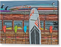 Surfs Up - Vintage Woodie Surf Bus - Florida - Hdr Style Acrylic Print by Ian Monk