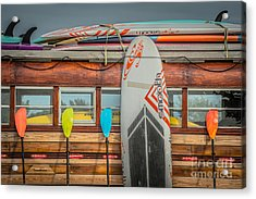Surfs Up - Vintage Woodie Surf Bus - Florida Acrylic Print by Ian Monk
