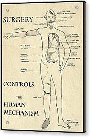 Surgery Controls The Human Mechanism   1906 Acrylic Print by Daniel Hagerman