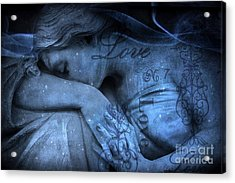 Surreal Blue Sad Mourning Weeping Angel Lost Love - Starry Blue Angel Weeping With Love Script Acrylic Print