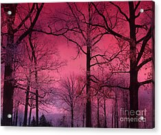Surreal Dark Pink Fantasy Nature - Haunting Dark Pink Sky Nature Tree Forest Woodlands Acrylic Print by Kathy Fornal