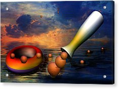 Surreal Dinner Served Over The Ocean Acrylic Print by Angela A Stanton