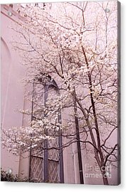 Surreal Dreamy Church Window With Pink Trees Acrylic Print by Kathy Fornal