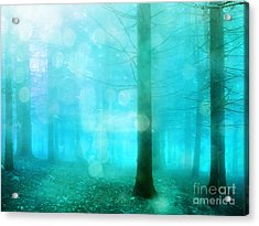 Surreal Dreamy Fantasy Bokeh Aqua Teal Turquoise Woodlands Trees  Acrylic Print by Kathy Fornal