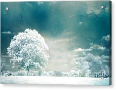 Surreal Dreamy Infrared Teal Turquoise Aqua Nature Tree Lanscape Acrylic Print by Kathy Fornal