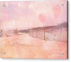 Surreal Dreamy Pink Coastal Summer Beach Ocean With Balloons Acrylic Print by Kathy Fornal