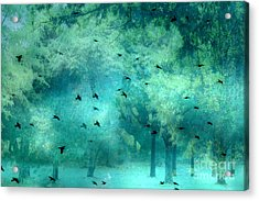 Surreal Fantasy Aqua Teal Woodlands Trees With Ravens Flying Acrylic Print by Kathy Fornal