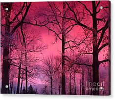 Surreal Fantasy Dark Pink Forest Woodlands Trees With Dark Pink Haunting Sky - Fantasy Pink Nature  Acrylic Print by Kathy Fornal