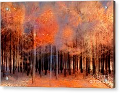 Surreal Fantasy Ethereal Trees Autumn Fall Orange Woodlands Nature  Acrylic Print