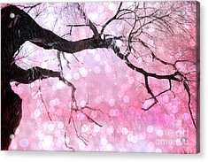 Surreal Fantasy Fairytale Pink And Black Nature Haunting Tree Limbs - Pink Bokeh Circles Acrylic Print by Kathy Fornal