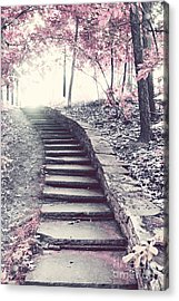 Surreal Fantasy Fairytale Pink Trees And Ethereal Woodlands Staircase  Acrylic Print