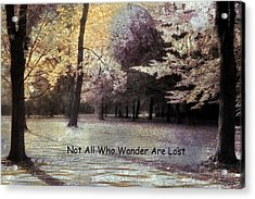 Surreal Fantasy Fall Autumn Woodlands Forest Landscape With Inspirational Message  Acrylic Print