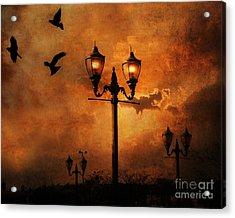 Surreal Fantasy Gothic Night Lanterns Ravens  Acrylic Print by Kathy Fornal