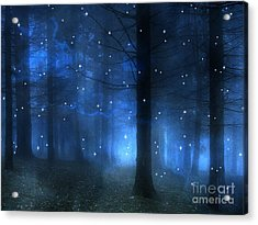 Surreal Fantasy Haunting Blue Sparkling Woodlands Forest Trees With Stars - Starlit Fantasy Nature Acrylic Print by Kathy Fornal