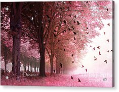 Surreal Fantasy Pink Nature Forest Woods With Birds Flying  Acrylic Print