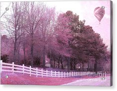 Surreal Fantasy Pink Nature Country Road With Hot Air Balloon Acrylic Print by Kathy Fornal
