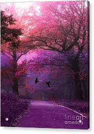 Surreal Fantasy Purple Pink Autumn Fall Nature Woodlands - Purple Woodlands With Flying Ravens Acrylic Print