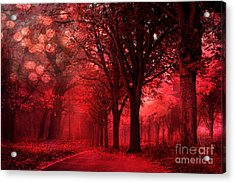 Surreal Fantasy Red Forest Woodlands Nature Acrylic Print by Kathy Fornal