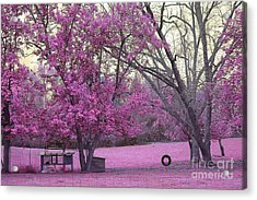 Surreal Fantasy South Carolina Pink Fall Landscape With Swing Acrylic Print
