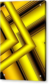 Surreal Geometry In Yellow Acrylic Print by Mario Perez