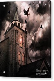 Surreal Gothic Church Storm Clouds Haunting Flying Ravens - Gothic Church Acrylic Print