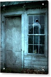 Surreal Gothic Grim Reaper In Window - Spooky Haunted House Reflection In Window Acrylic Print by Kathy Fornal