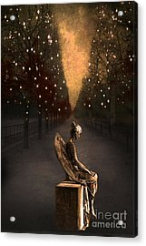 Surreal Gothic Haunting Emotive Angel Sitting On Bench   Acrylic Print by Kathy Fornal