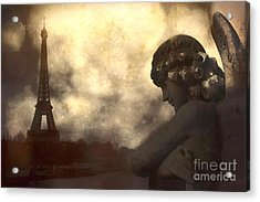 Surreal Gothic Paris Eiffel Tower With Angel Statue Montage Acrylic Print by Kathy Fornal