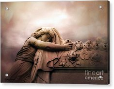 Surreal Gothic Sad Angel Female Cemetery Mourner At Rose Casket Coffin - Haunting Surreal Grave Art Acrylic Print by Kathy Fornal