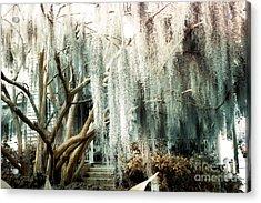 Surreal Gothic Savannah House Spanish Moss Hanging Trees - Savannah Mint Green Moss Trees Acrylic Print by Kathy Fornal