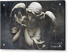 Ethereal Guardian Angel With Dove Of Peace Acrylic Print