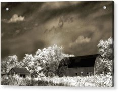 Surreal Infrared Sepia Rural Barn Landscape Acrylic Print by Kathy Fornal