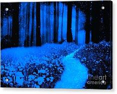 Surreal Moonlight Blue Haunting Dark Fantasy Nature Path Woodlands Acrylic Print