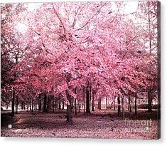 Surreal Pink Tree Landscape - South Carolina Pink Nature Landscape Acrylic Print